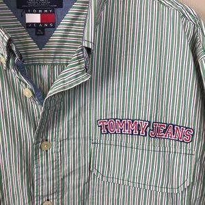 Vintage Tommy Hilfiger green striped short sleeve